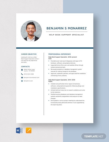 Help Desk Support Specialist Resume Template