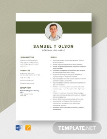 Hemodialysis Nurse Resume Template