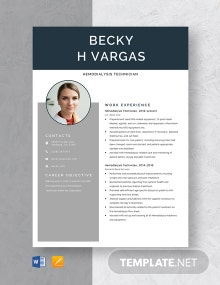 Hemodialysis Technician Resume Template