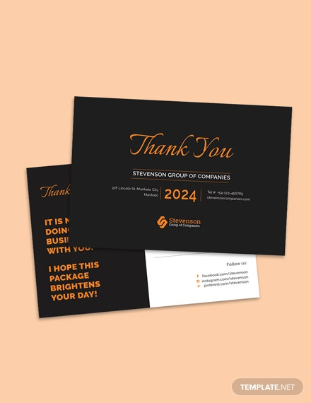 Free Business Thank You Postcard Template