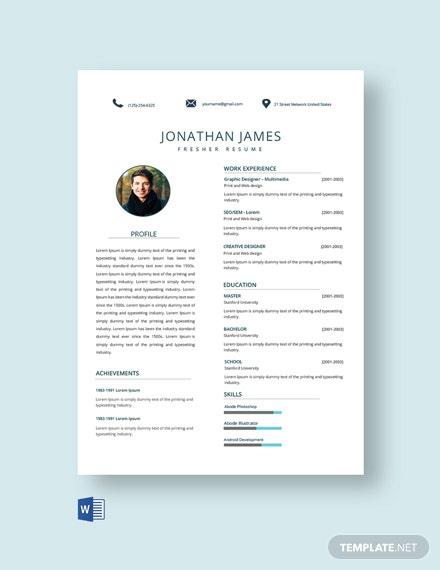Free IT Fresher Resume Template
