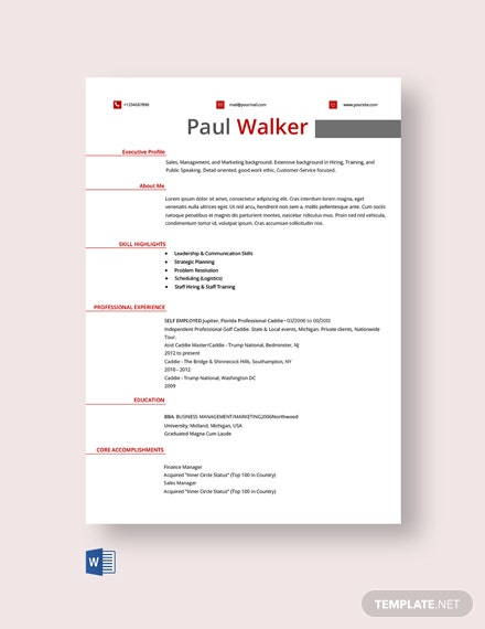 Free Fresher Golf Caddy Resume Template