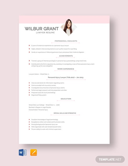 Free Intern Lawyer Resume Template