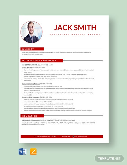 Free Trainee Manager Resume Template