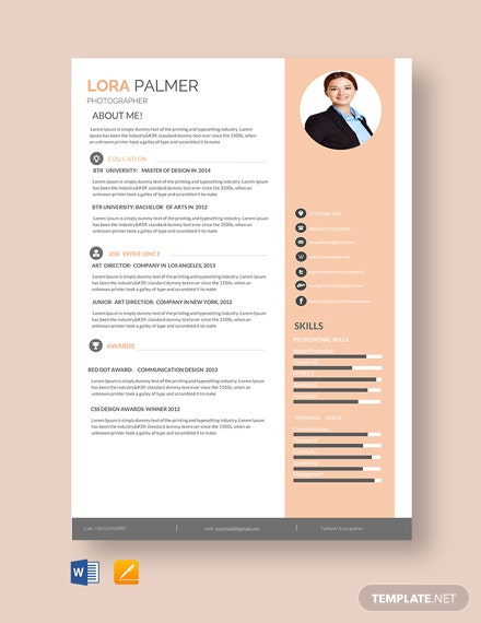 Free Professional Photographer Resume Template