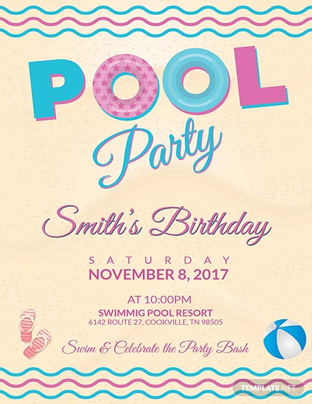 Free Pool Party Birthday Flyer Template