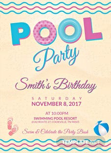 Pool Party Birthday Flyer Template
