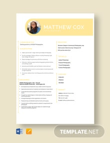 Free Experienced Photographer Resume Template