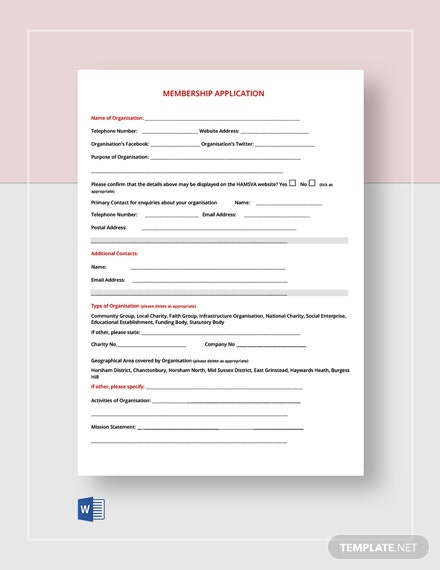 Free Membership Application Form