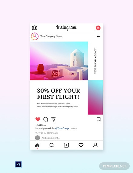 Free Elegant Travel Instagram Post Template