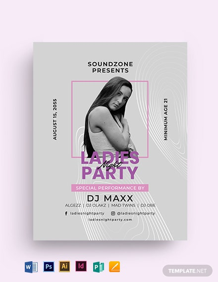 Girls Ladies Night Party Flyer Template