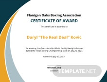 Certificate of Boxing Champion