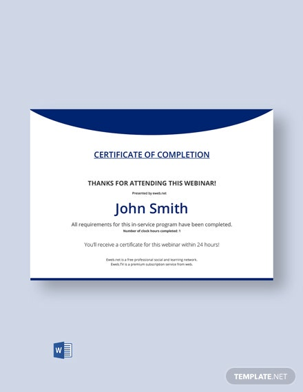 Free Program Completion Certificate