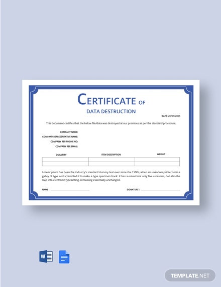 Free Certificate of Data Destruction