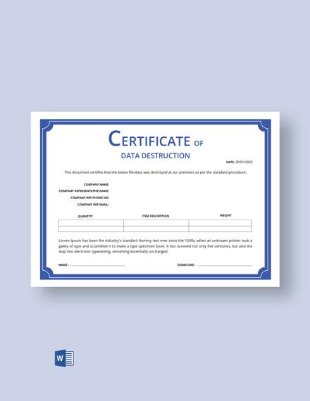 Free Certificate of Data Destruction