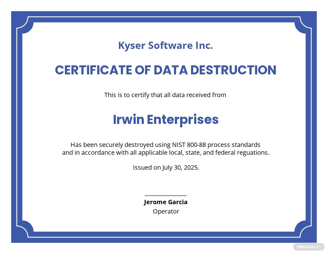 Certificate of Data Destruction