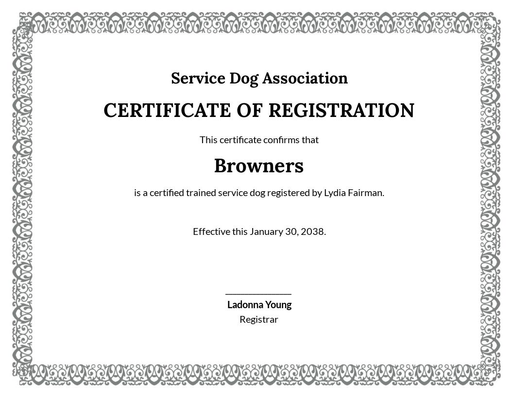 Free Service Dog Certificate Template