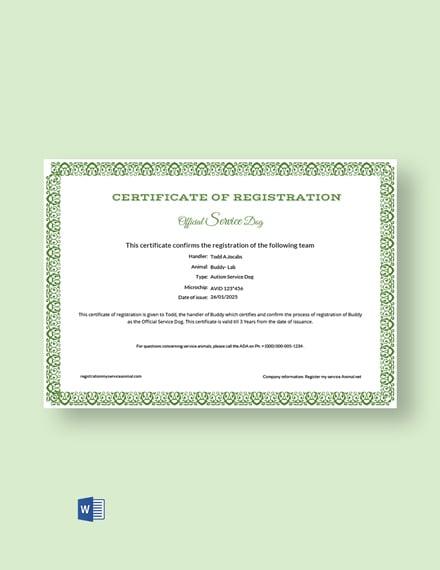 service dog certificate