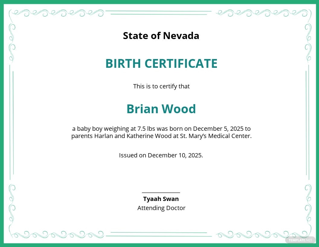 Free Baby Birth Certificate Template