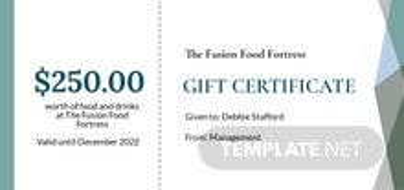 Free Multicuisine Restaurant Gift Certificate