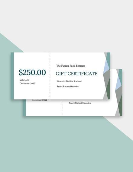 Multicuisine Restaurant Gift Certificate