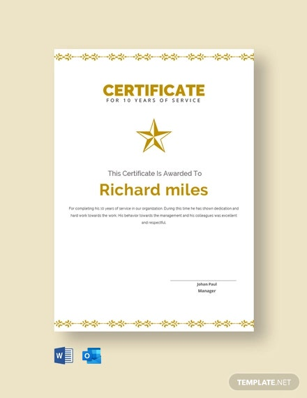 Free 10 Years Service Certificate Template