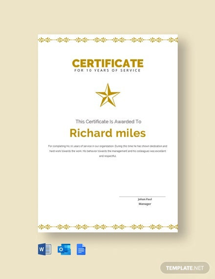 Free 10 Years Service Certificate Template Word Google Docs