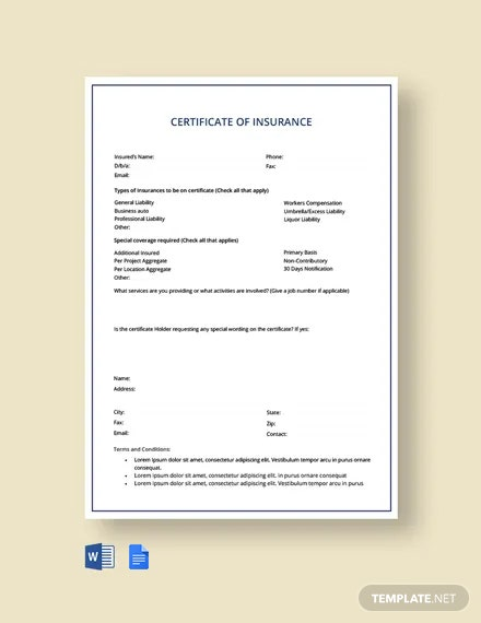 Car insurance Certificate Template