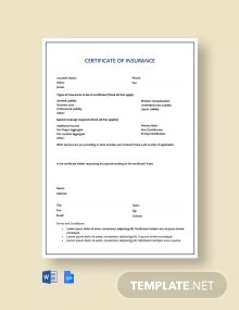 Car insurance Certificate Template