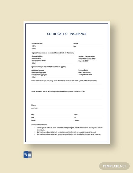 Free Car insurance Certificate Template
