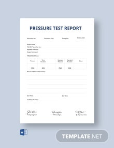 Free Pressure Test Report Certificate Template