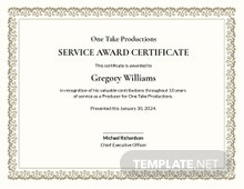 Free Long Service Award Certificate Template