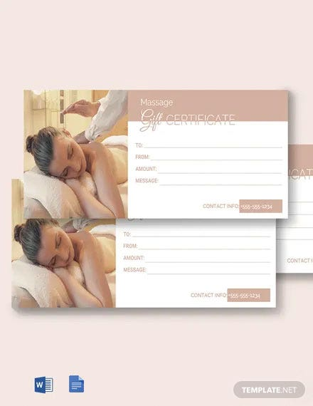 Free Gift Certificate for Massage Template