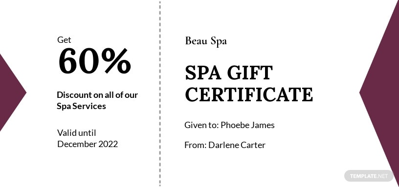 Simple Spa Gift Certificate Template