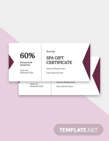 Free Simple Spa Gift Certificate Template
