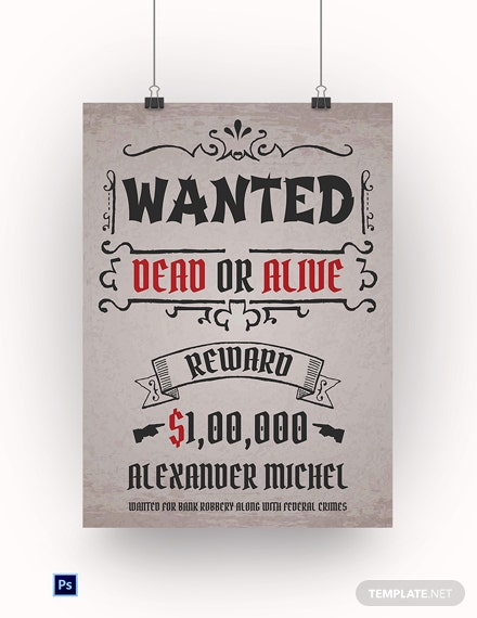 Wild West Wanted Poster Template