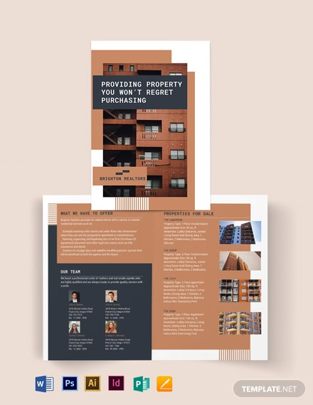 apartment condo bi fold brochure