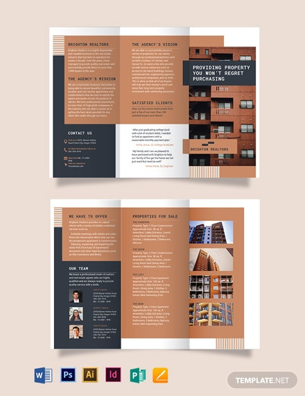 apartment condo tri fold brochure