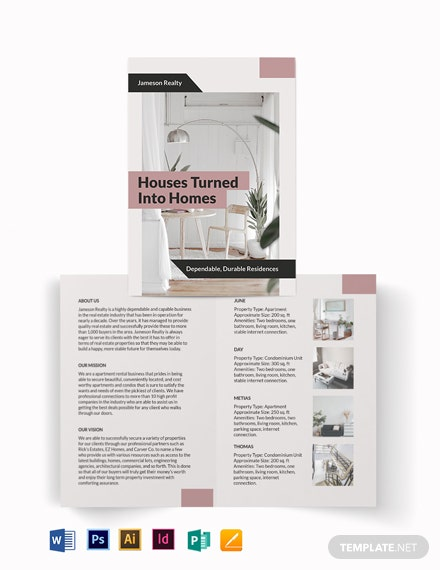 apartment condo community bi fold brochure