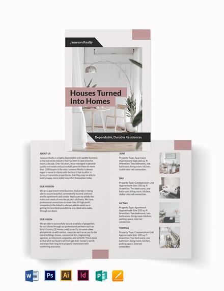Apartment/Condo Community Bi-Fold Brochure Template