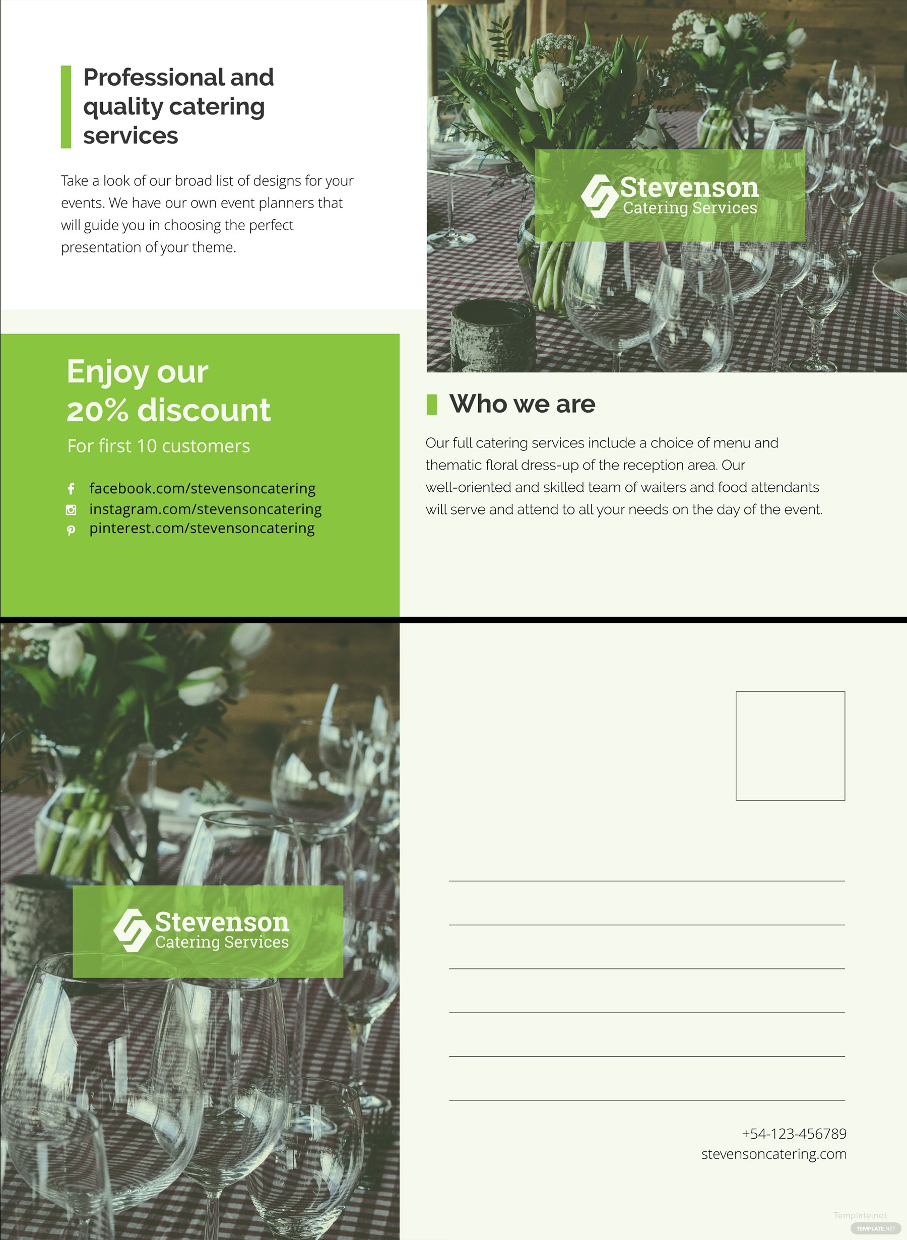 Catering Business Postcard Template in Illustrator