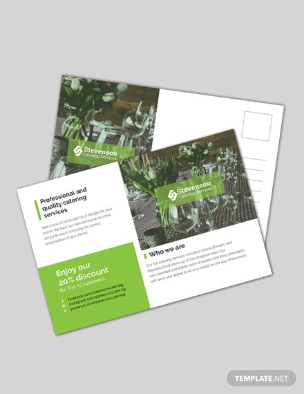 Free Catering Business Postcard Template