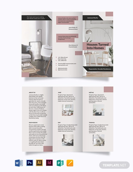 apartment condo community tri fold brochure