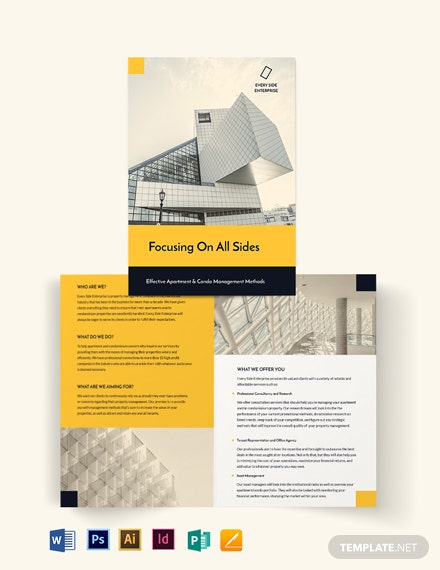 Apartment/Condo Property Management Bi-Fold Brochure Template