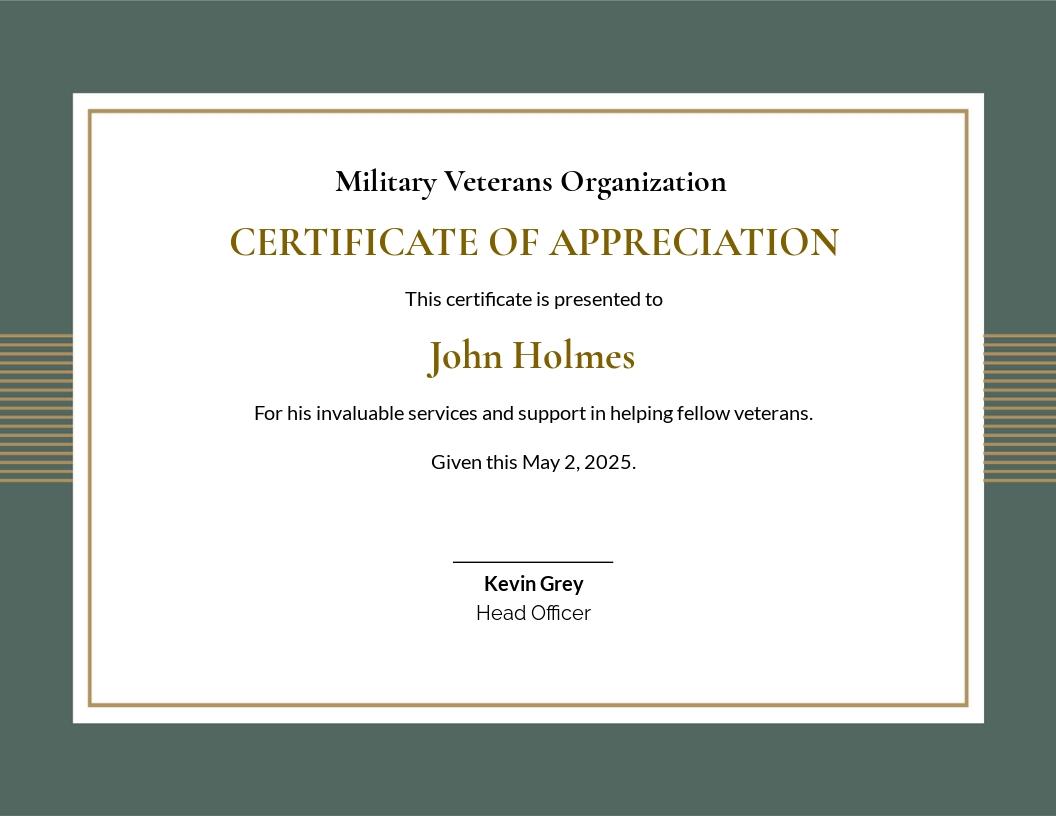Military Certificate of Appreciation Template