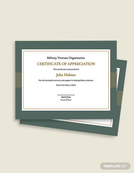 Free Military Certificate of Appreciation Template