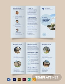 Property Maintenance Tri-Fold Brochure Template
