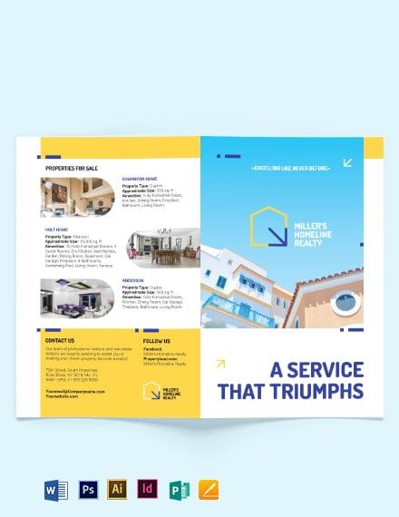 Award Winning Realtor Bi-Fold Brochure Template [Free Publisher] - Illustrator, InDesign, Word, Apple Pages, PSD