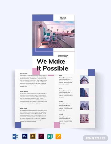 Beach Vacation Rental Bi-Fold Brochure Template