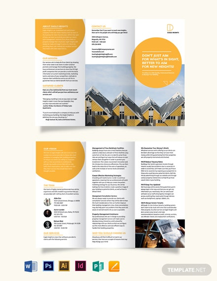 Building Management Tri-Fold Brochure Template